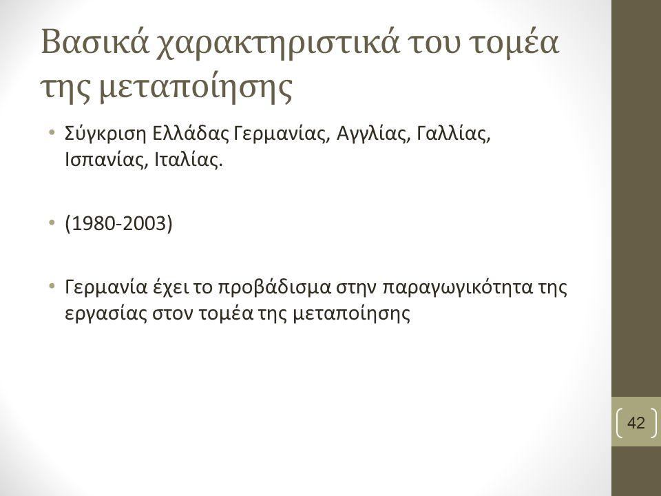 Βασικά χαρακτηριστικά του τομέα της μεταποίησης Σύγκριση Ελλάδας Γερμανίας, Αγγλίας, Γαλλίας, Ισπανίας, Ιταλίας.