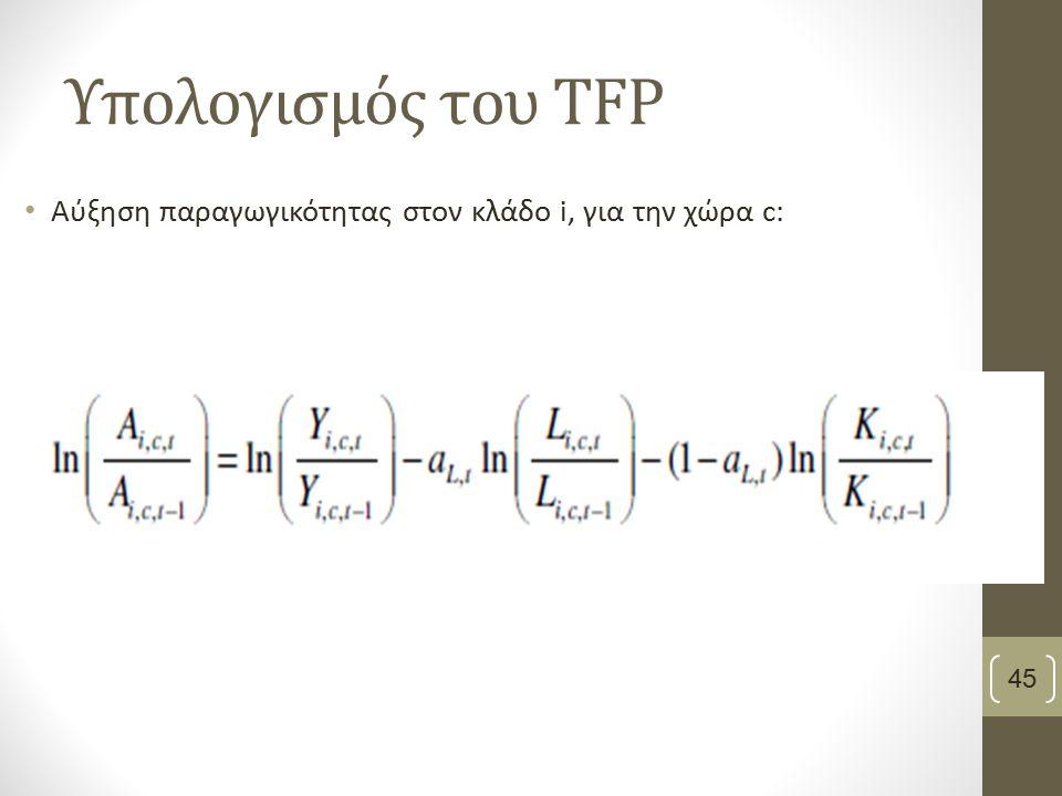 Υπολογισμός του TFP Αύξηση παραγωγικότητας στον κλάδο i, για την χώρα c: 45