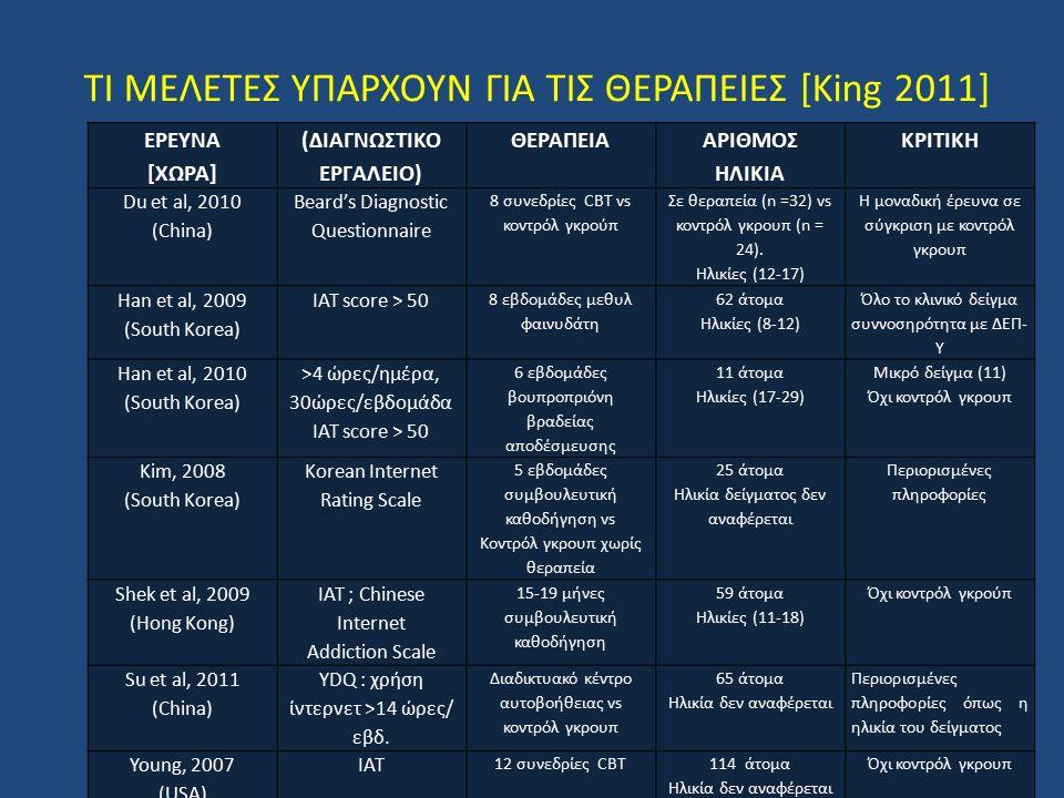 ΤΙ ΜΕΛΕΤΕΣ ΥΠΑΡΧΟΥΝ ΓΙΑ ΤΙΣ ΘΕΡΑΠΕΙΕΣ [King 2011] ΕΡΕΥΝΑ [ΧΩΡΑ] (ΔΙΑΓΝΩΣΤΙΚΟ ΕΡΓΑΛΕΙΟ) ΘΕΡΑΠΕΙΑ ΑΡΙΘΜΟΣ ΗΛΙΚΙΑ ΚΡΙΤΙΚΗ Du et al, 2010 (China) Beard's