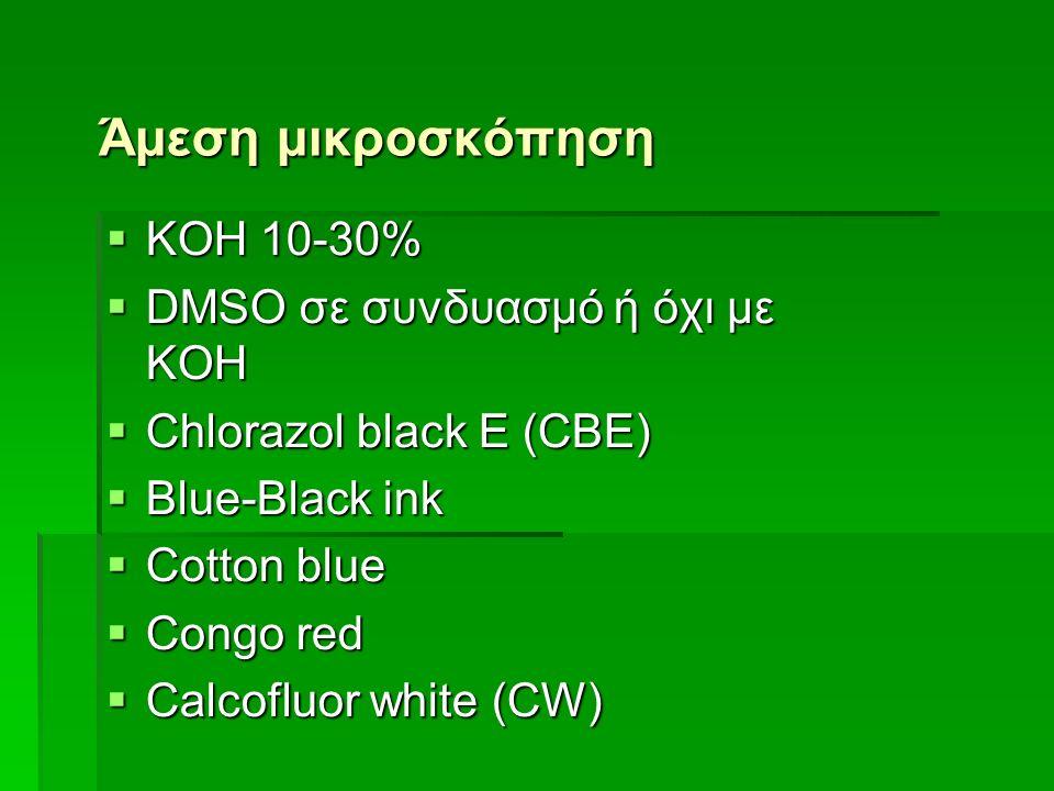 Άμεση μικροσκόπηση  KOH 10-30%  DMSO σε συνδυασμό ή όχι με KOH  Chlorazol black E (CBE)  Blue-Black ink  Cotton blue  Congo red  Calcofluor white (CW)