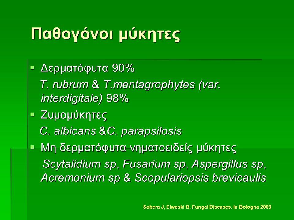 Παθογόνοι μύκητες  Δερματόφυτα 90% T. rubrum & Τ.mentagrophytes (var.