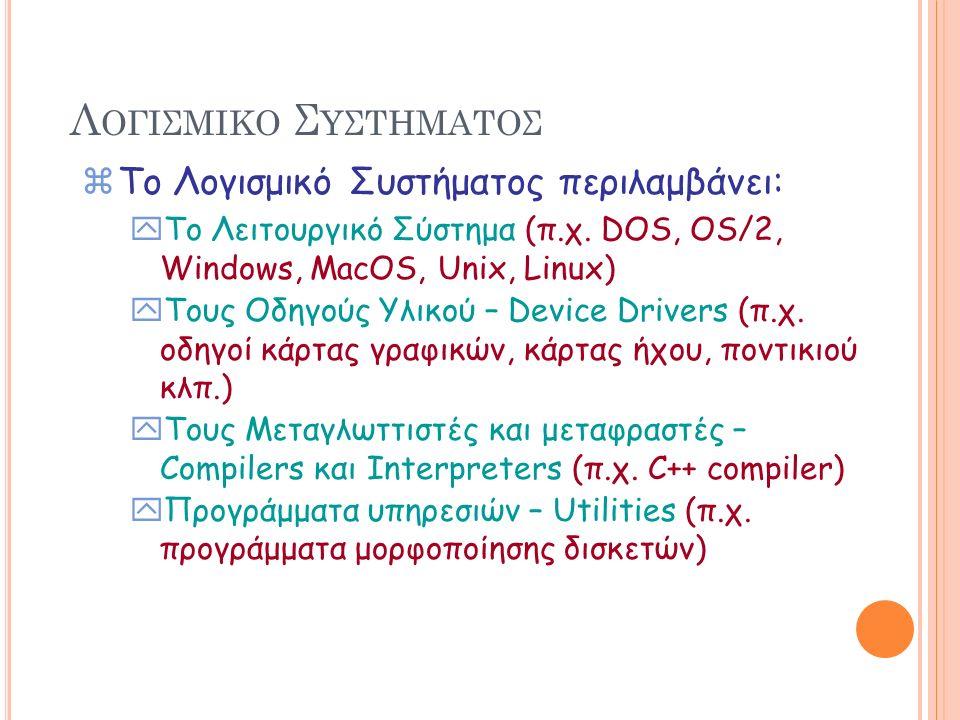 Λ ΟΓΙΣΜΙΚΟ Σ ΥΣΤΗΜΑΤΟΣ zΤο Λογισμικό Συστήματος περιλαμβάνει: yTo Λειτουργικό Σύστημα (π.χ. DOS, OS/2, Windows, MacOS, Unix, Linux) yΤους Οδηγούς Υλικ