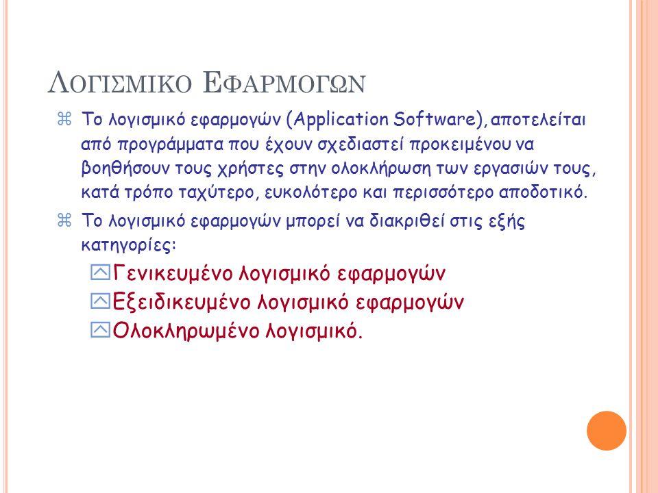 Λ ΕΙΤΟΥΡΓΙΚΑ Σ ΥΣΤΗΜΑΤΑ zΤο λειτουργικό σύστημα: yΕίναι ένα σύνολο προγραμμάτων που ελέγχουν και επιβλέπουν το υλικό του Η/Υ παρέχοντας διάφορες υπηρεσίες: xσε προγράμματα εφαρμογών xσε προγραμματιστές xκαι χρήστες Η/Υ yΕλέγχει και συντονίζει την λειτουργία των μονάδων περιφερειακής μνήμης, την κύρια μνήμη και την κεντρική μονάδα επεξεργασίας.