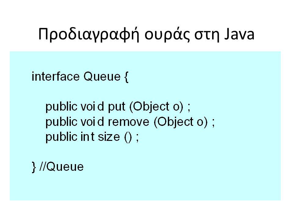 Προδιαγραφή ουράς στη Java