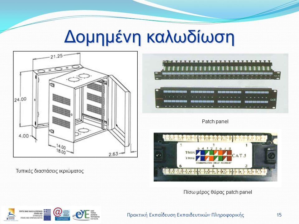 Πρακτική Εκπαίδευση Εκπαιδευτικών Πληροφορικής15 Δομημένη καλωδίωση Τυπικές διαστάσεις ικριώματος Patch panel Πίσω μέρος θύρας patch panel