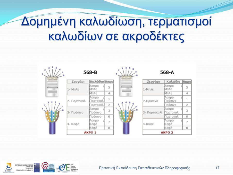 Πρακτική Εκπαίδευση Εκπαιδευτικών Πληροφορικής17 Δομημένη καλωδίωση, τερματισμοί καλωδίων σε ακροδέκτες