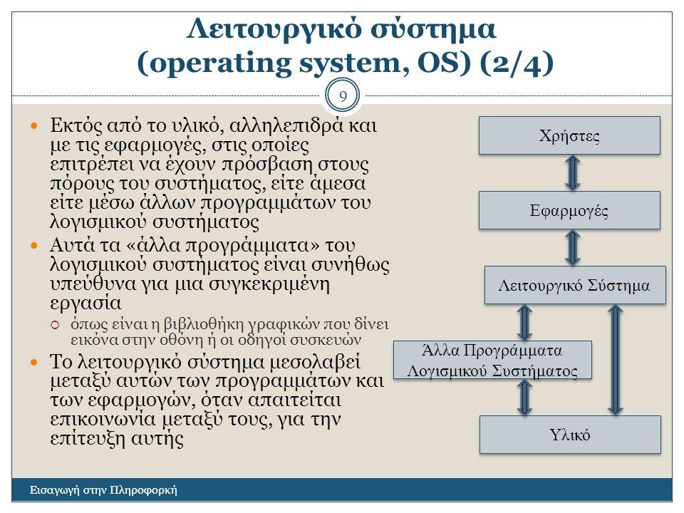 Λειτουργικό σύστημα (operating system, OS) (2/4) Εισαγωγή στην Πληροφορκή 9 Εκτός από το υλικό, αλληλεπιδρά και με τις εφαρμογές, στις οποίες επιτρέπει να έχουν πρόσβαση στους πόρους του συστήματος, είτε άμεσα είτε μέσω άλλων προγραμμάτων του λογισμικού συστήματος Αυτά τα «άλλα προγράμματα» του λογισμικού συστήματος είναι συνήθως υπεύθυνα για μια συγκεκριμένη εργασία  όπως είναι η βιβλιοθήκη γραφικών που δίνει εικόνα στην οθόνη ή οι οδηγοί συσκευών Το λειτουργικό σύστημα μεσολαβεί μεταξύ αυτών των προγραμμάτων και των εφαρμογών, όταν απαιτείται επικοινωνία μεταξύ τους, για την επίτευξη αυτής Άλλα Προγράμματα Λογισμικού Συστήματος Υλικό Λειτουργικό Σύστημα Εφαρμογές Χρήστες