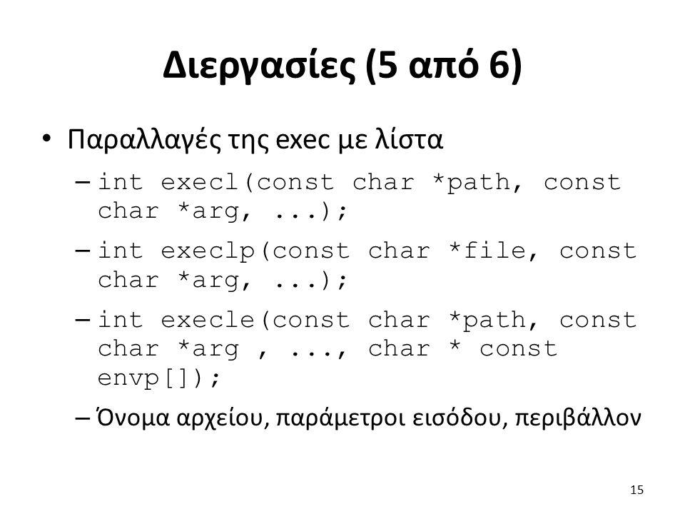 Διεργασίες (5 από 6) Παραλλαγές της exec με λίστα – int execl(const char *path, const char *arg,...); – int execlp(const char *file, const char *arg,...); – int execle(const char *path, const char *arg,..., char * const envp[]); – Όνομα αρχείου, παράμετροι εισόδου, περιβάλλον 15