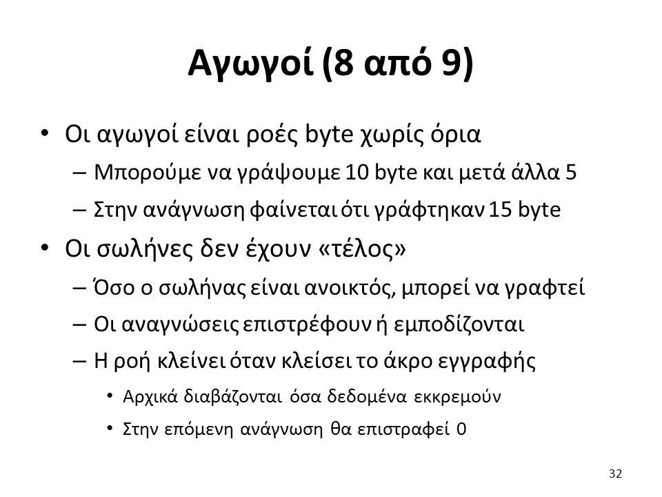 Αγωγοί (8 από 9) Οι αγωγοί είναι ροές byte χωρίς όρια – Μπορούμε να γράψουμε 10 byte και μετά άλλα 5 – Στην ανάγνωση φαίνεται ότι γράφτηκαν 15 byte Οι σωλήνες δεν έχουν «τέλος» – Όσο ο σωλήνας είναι ανοικτός, μπορεί να γραφτεί – Οι αναγνώσεις επιστρέφουν ή εμποδίζονται – Η ροή κλείνει όταν κλείσει το άκρο εγγραφής Αρχικά διαβάζονται όσα δεδομένα εκκρεμούν Στην επόμενη ανάγνωση θα επιστραφεί 0 32