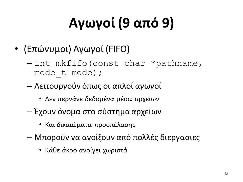 Αγωγοί (9 από 9) (Επώνυμοι) Αγωγοί (FIFO) – int mkfifo(const char *pathname, mode_t mode); – Λειτουργούν όπως οι απλοί αγωγοί Δεν περνάνε δεδομένα μέσω αρχείων – Έχουν όνομα στο σύστημα αρχείων Και δικαιώματα προσπέλασης – Μπορούν να ανοίξουν από πολλές διεργασίες Κάθε άκρο ανοίγει χωριστά 33