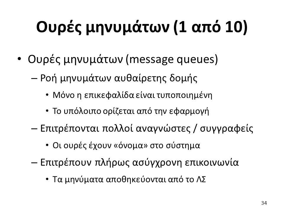 Ουρές μηνυμάτων (1 από 10) Ουρές μηνυμάτων (message queues) – Ροή μηνυμάτων αυθαίρετης δομής Μόνο η επικεφαλίδα είναι τυποποιημένη Το υπόλοιπο ορίζεται από την εφαρμογή – Επιτρέπονται πολλοί αναγνώστες / συγγραφείς Οι ουρές έχουν «όνομα» στο σύστημα – Επιτρέπουν πλήρως ασύγχρονη επικοινωνία Τα μηνύματα αποθηκεύονται από το ΛΣ 34