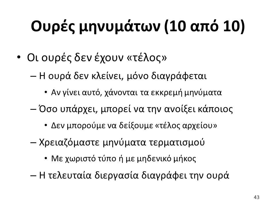 Ουρές μηνυμάτων (10 από 10) Οι ουρές δεν έχουν «τέλος» – Η ουρά δεν κλείνει, μόνο διαγράφεται Αν γίνει αυτό, χάνονται τα εκκρεμή μηνύματα – Όσο υπάρχε