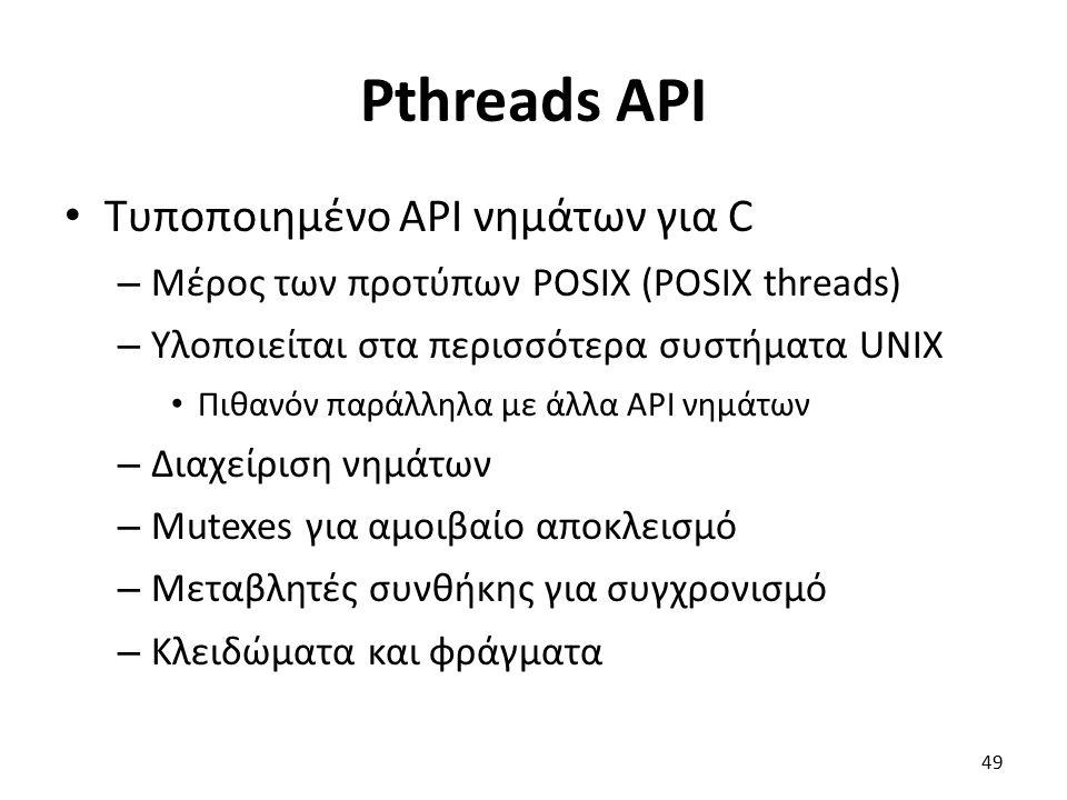 Pthreads API Τυποποιημένο API νημάτων για C – Μέρος των προτύπων POSIX (POSIX threads) – Υλοποιείται στα περισσότερα συστήματα UNIX Πιθανόν παράλληλα