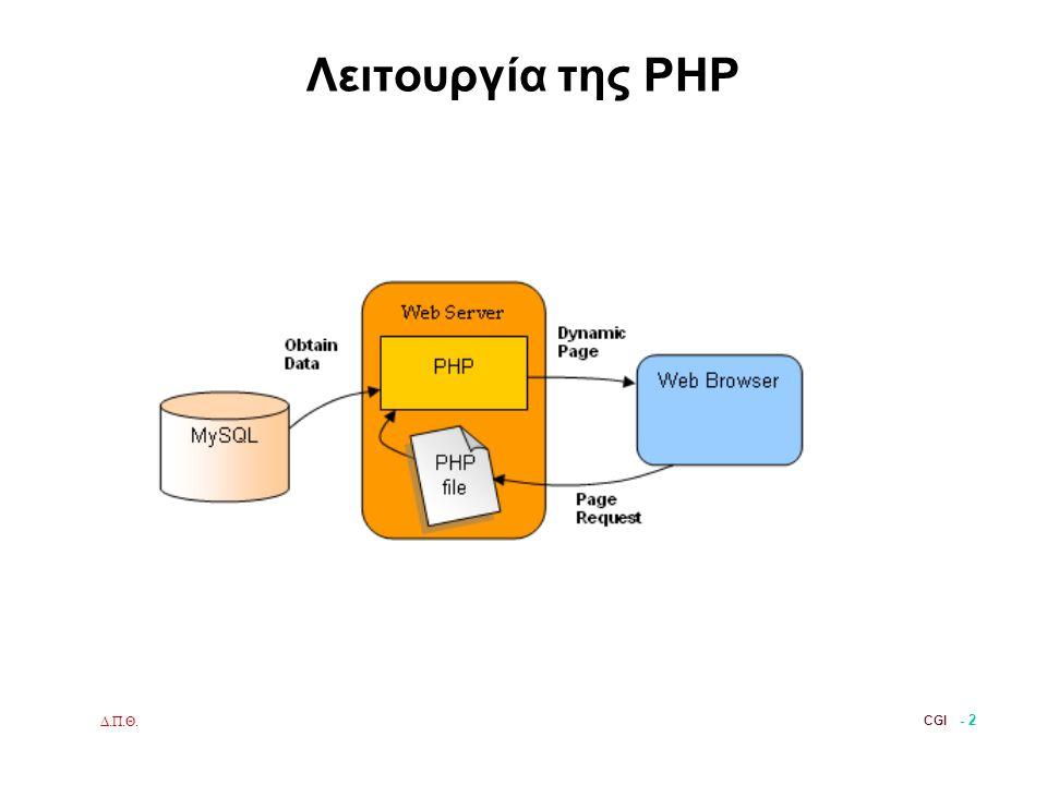 Δ.Π.Θ. CGI - 2 Λειτουργία της PHP