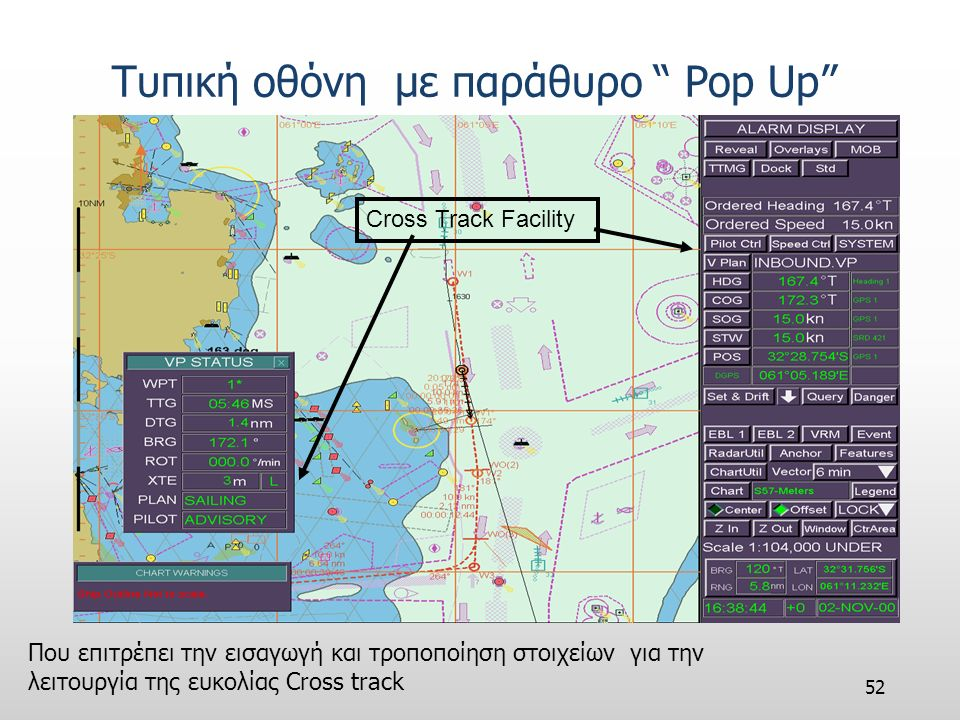 51 Τυπική οθόνη με χάρτη Vector Ownship PositionOwnship VectorVoyage Plan ARPA Targets