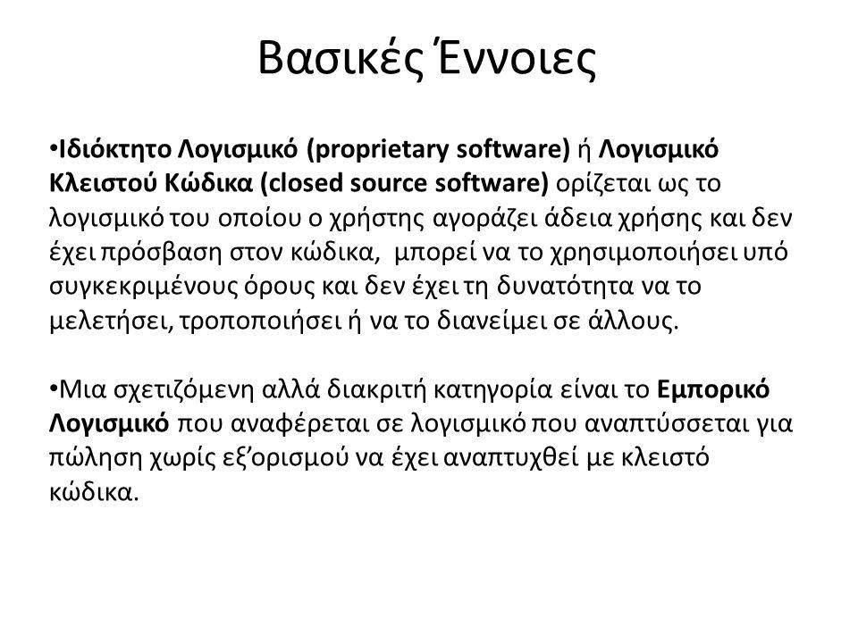 Βασικές Έννοιες Ιδιόκτητο Λογισμικό (proprietary software) ή Λογισμικό Κλειστού Κώδικα (closed source software) ορίζεται ως το λογισμικό του οποίου ο