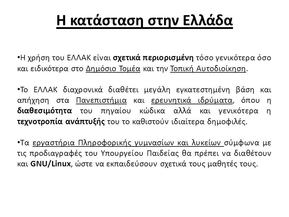 Η κατάσταση στην Ελλάδα Η χρήση του ΕΛΛΑΚ είναι σχετικά περιορισμένη τόσο γενικότερα όσο και ειδικότερα στο Δημόσιο Τομέα και την Τοπική Αυτοδιοίκηση.