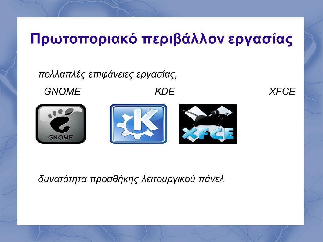 Πρωτοποριακό περιβάλλον εργασίας πολλαπλές επιφάνειες εργασίας, GNOME KDEXFCE δυνατότητα προσθήκης λειτουργικού πάνελ