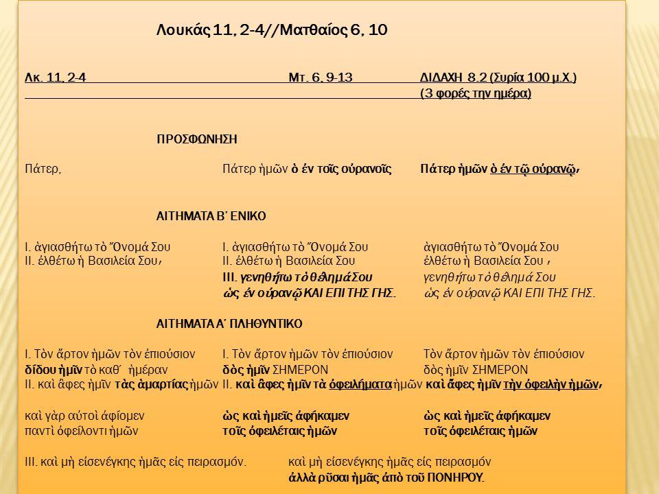 Λουκάς 11, 2-4//Mατθαίος 6, 10 Λκ. 11, 2-4Μτ.