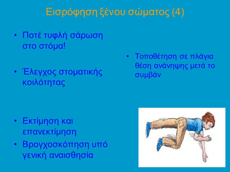 Εισρόφηση ξένου σώματος (4) Ποτέ τυφλή σάρωση στο στόμα.