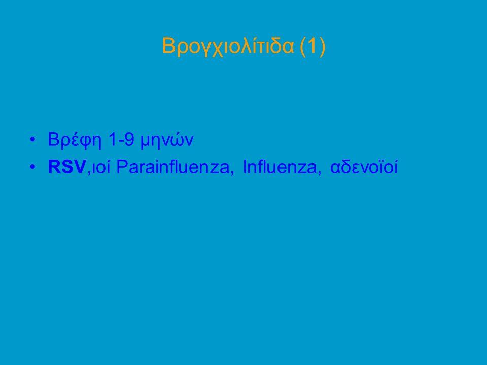 Βρογχιολίτιδα (1) Βρέφη 1-9 μηνών RSV,ιοί Parainfluenza, Influenza, αδενοϊοί