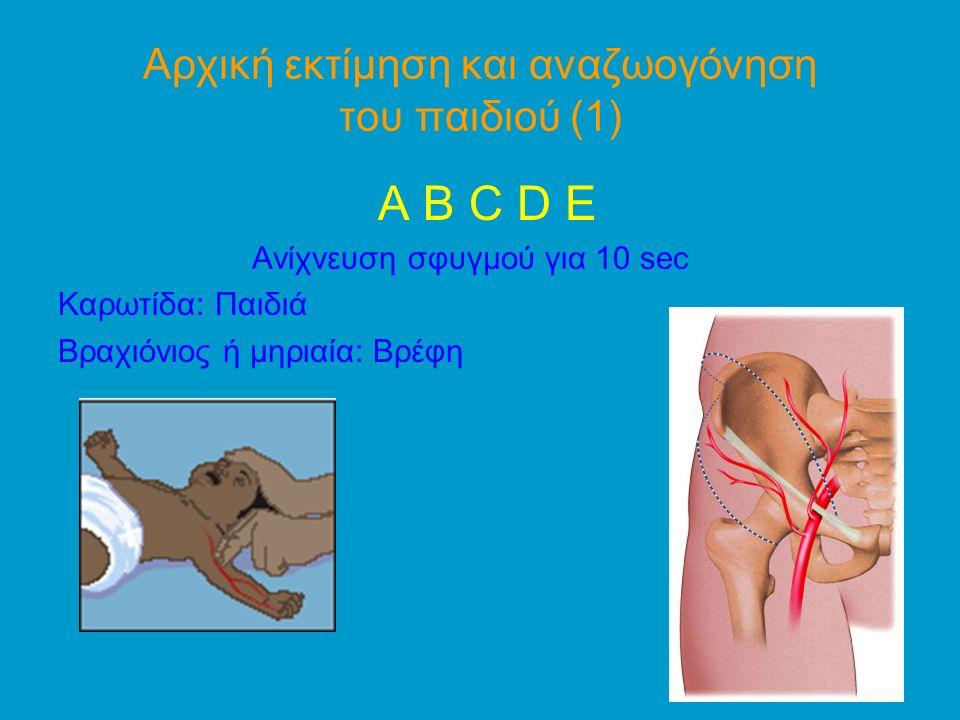 Αρχική εκτίμηση και αναζωογόνηση του παιδιού (1) A B C D E Ανίχνευση σφυγμού για 10 sec Καρωτίδα: Παιδιά Βραχιόνιος ή μηριαία: Βρέφη
