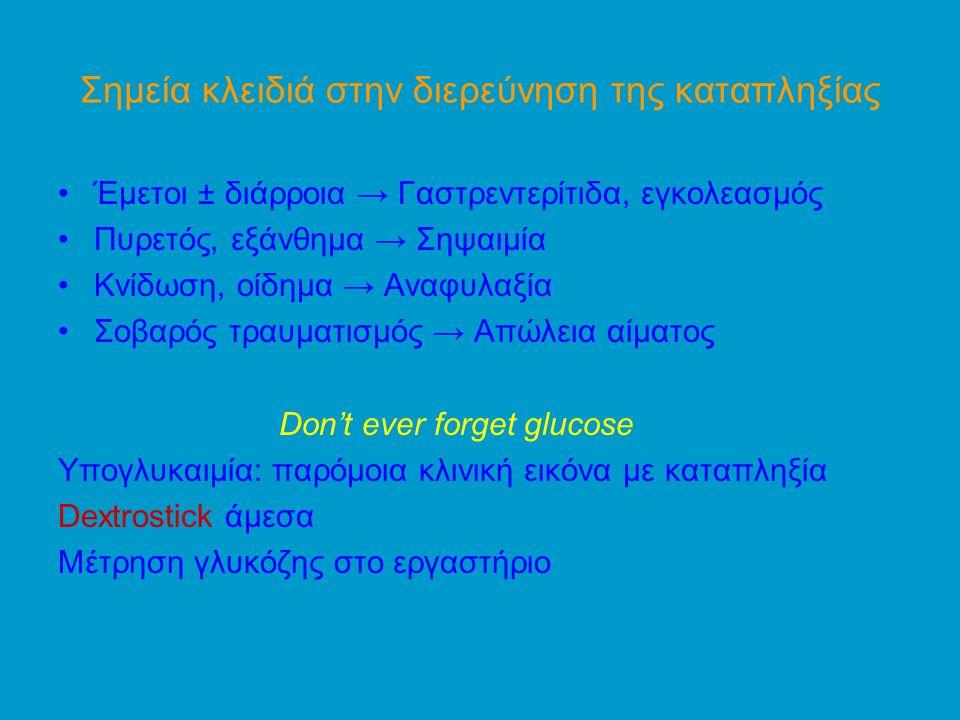 Σημεία κλειδιά στην διερεύνηση της καταπληξίας Έμετοι ± διάρροια → Γαστρεντερίτιδα, εγκολεασμός Πυρετός, εξάνθημα → Σηψαιμία Κνίδωση, οίδημα → Αναφυλαξία Σοβαρός τραυματισμός → Απώλεια αίματος Don't ever forget glucose Υπογλυκαιμία: παρόμοια κλινική εικόνα με καταπληξία Dextrostick άμεσα Μέτρηση γλυκόζης στο εργαστήριο