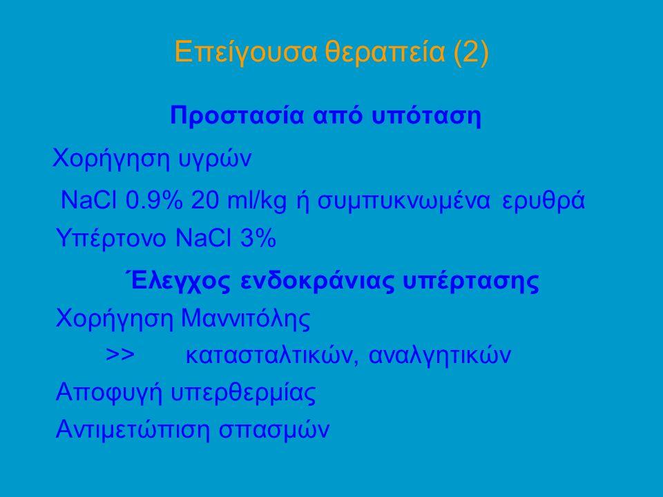 Επείγουσα θεραπεία (2) Προστασία από υπόταση Χορήγηση υγρών NaCl 0.9% 20 ml/kg ή συμπυκνωμένα ερυθρά Yπέρτονο NaCl 3% Έλεγχος ενδοκράνιας υπέρτασης Χορήγηση Μαννιτόλης >> κατασταλτικών, αναλγητικών Αποφυγή υπερθερμίας Αντιμετώπιση σπασμών