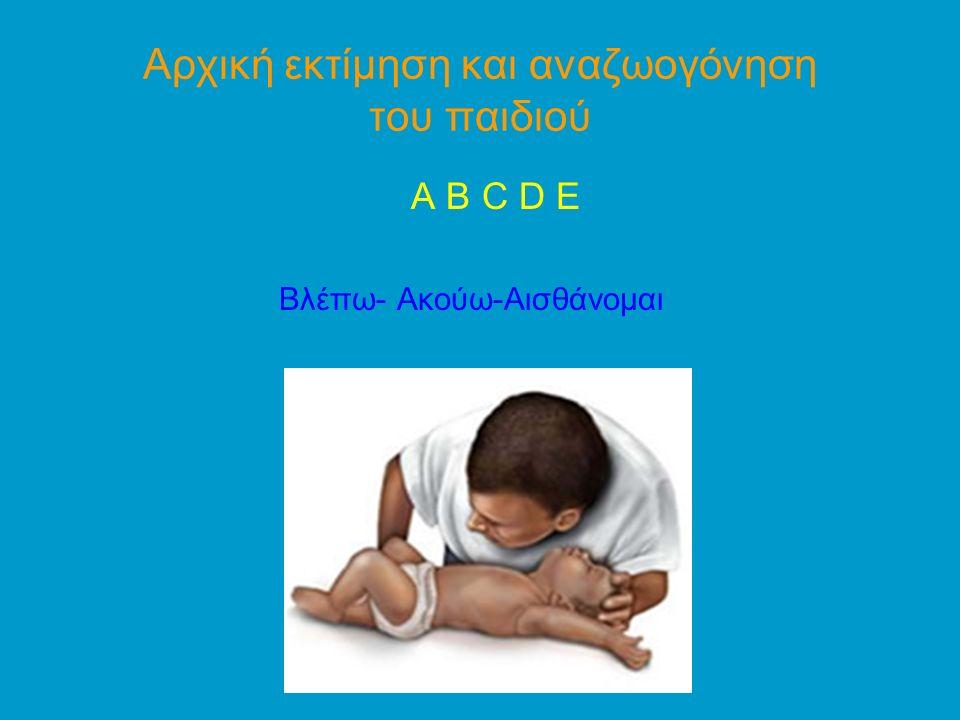Αρχική εκτίμηση και αναζωογόνηση του παιδιού Bλέπω- Ακούω-Αισθάνομαι ↓ ↓ ΟΧΙ ΝΑΙ ↓ Χειρισμοί διάνοιξης αεραγωγού ↓ ↓ ↓ Δεν υπάρχει κίνηση αέρα Υπάρχει αναπνοή ↓ ↓ ↓ BLS Εκτιμώ προσπάθεια, επάρκεια αναπνοής ↓ 5 αναπνοές αναζωογόνησης ↓ ↓ Χορήγηση Ο2 ΚΑΡΠΑ