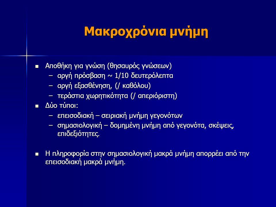 Μακροχρόνια μνήμη Αποθήκη για γνώση (θησαυρός γνώσεων) Αποθήκη για γνώση (θησαυρός γνώσεων) –αργή πρόσβαση ~ 1/10 δευτερόλεπτα –αργή εξασθένηση, (/ καθόλου) –τεράστια χωρητικότητα (/ απεριόριστη) Δύο τύποι: Δύο τύποι: –επεισοδιακή – σειριακή μνήμη γεγονότων –σημασιολογική – δομημένη μνήμη από γεγονότα, σκέψεις, επιδεξιότητες.