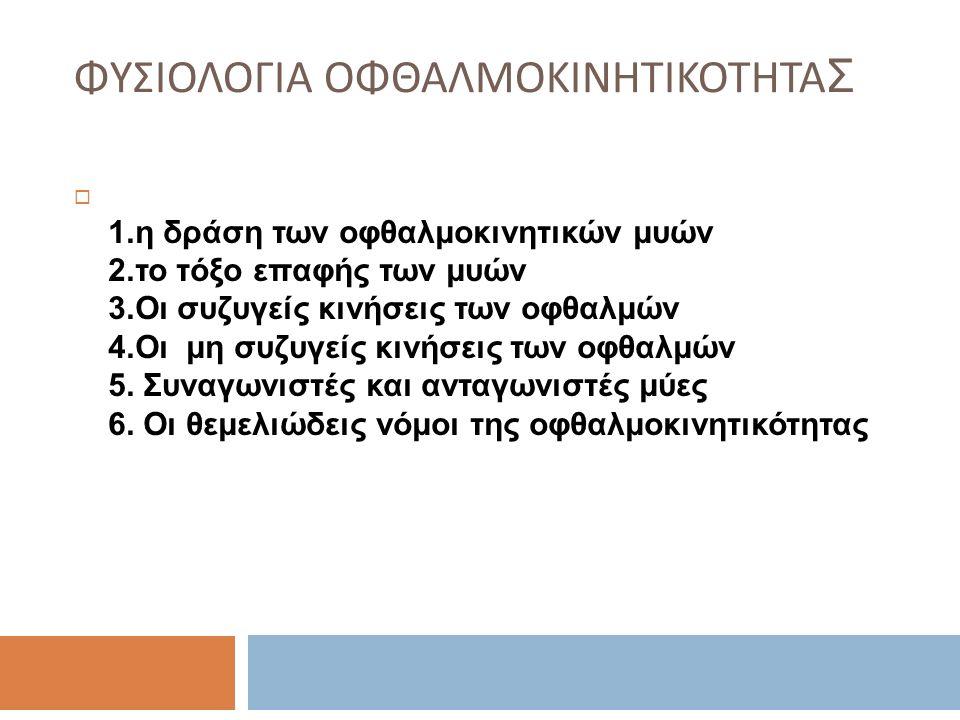 ΦΥΣΙΟΛΟΓΙΑ ΟΦΘΑΛΜΟΚΙΝΗΤΙΚΟΤΗΤΑ Σ  1.η δράση των οφθαλμοκινητικών μυών 2.το τόξο επαφής των μυών 3.Οι συζυγείς κινήσεις των οφθαλμών 4.Οι μη συζυγείς κινήσεις των οφθαλμών 5.