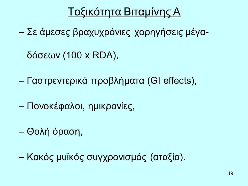 48 Ανώτατες δόσεις Βιταμίνης Α Τα 3.000 μg καθαρής ρετινόλης, Η υπερβιταμίνωση προκύπτει από συμπληρώματα που χρησιμοποιούνται μακροχρόνια (2 – 4 x RDA), Τοξικότητα, Θανατηφόρος δόση (12 g).