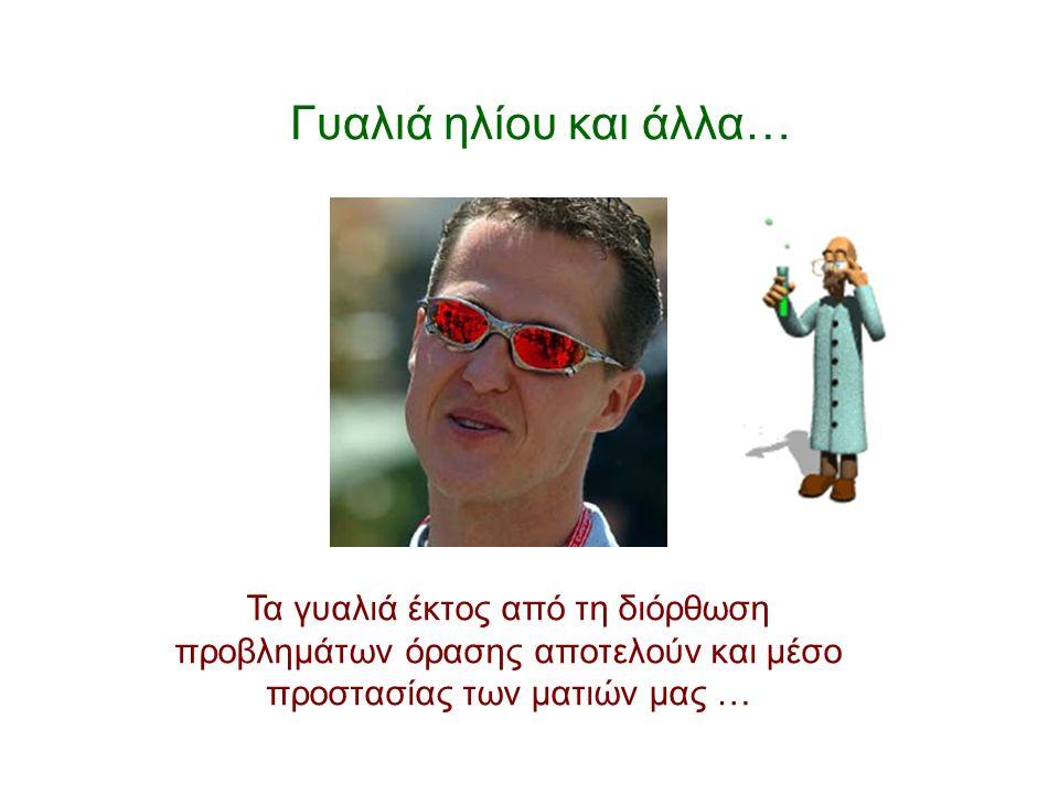 Γυαλιά ηλίου και άλλα… Τα γυαλιά έκτος από τη διόρθωση προβλημάτων όρασης αποτελούν και μέσο προστασίας των ματιών μας …