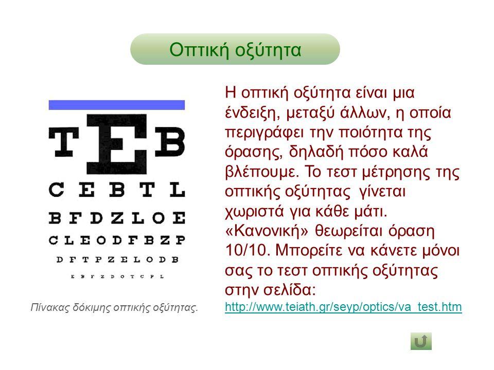 Οπτική οξύτητα Η οπτική οξύτητα είναι μια ένδειξη, μεταξύ άλλων, η οποία περιγράφει την ποιότητα της όρασης, δηλαδή πόσο καλά βλέπουμε. Το τεστ μέτρησ