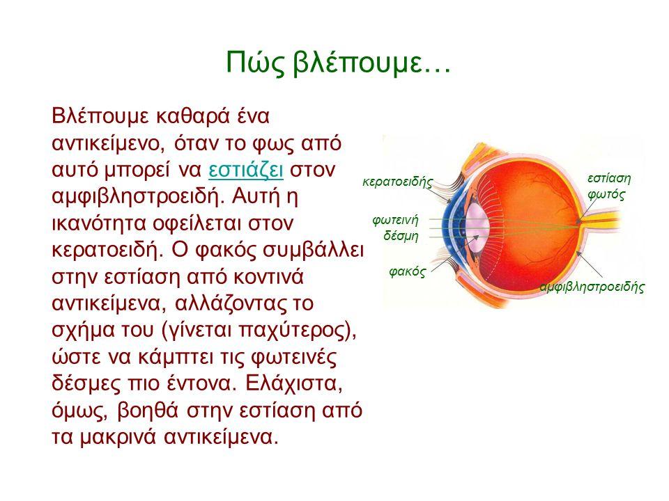 Οπτική οξύτητα Η οπτική οξύτητα είναι μια ένδειξη, μεταξύ άλλων, η οποία περιγράφει την ποιότητα της όρασης, δηλαδή πόσο καλά βλέπουμε.