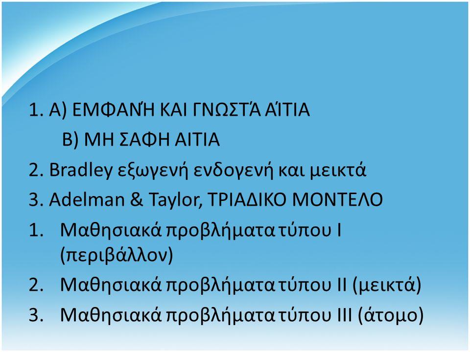 1. Α) ΕΜΦΑΝΉ ΚΑΙ ΓΝΩΣΤΆ ΑΊΤΙΑ Β) ΜΗ ΣΑΦΗ ΑΙΤΙΑ 2.