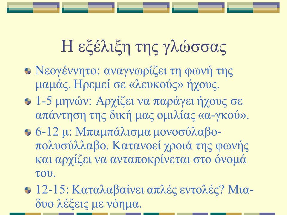 Η εξέλιξη της γλώσσας Νεογέννητο: αναγνωρίζει τη φωνή της μαμάς.