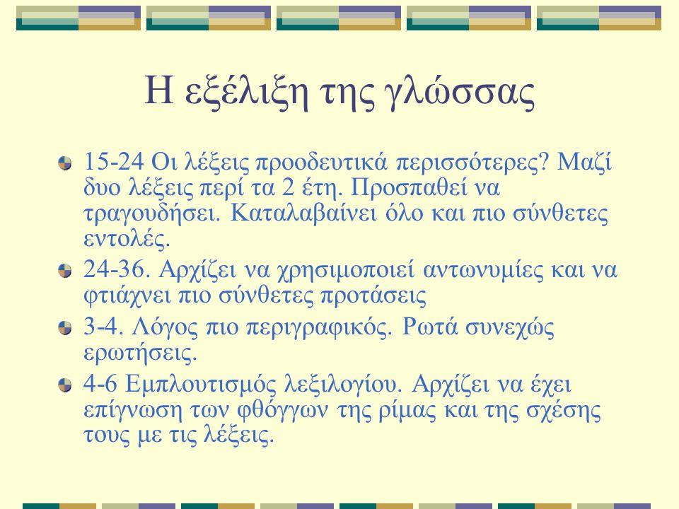 Η εξέλιξη της γλώσσας 15-24 Οι λέξεις προοδευτικά περισσότερες.