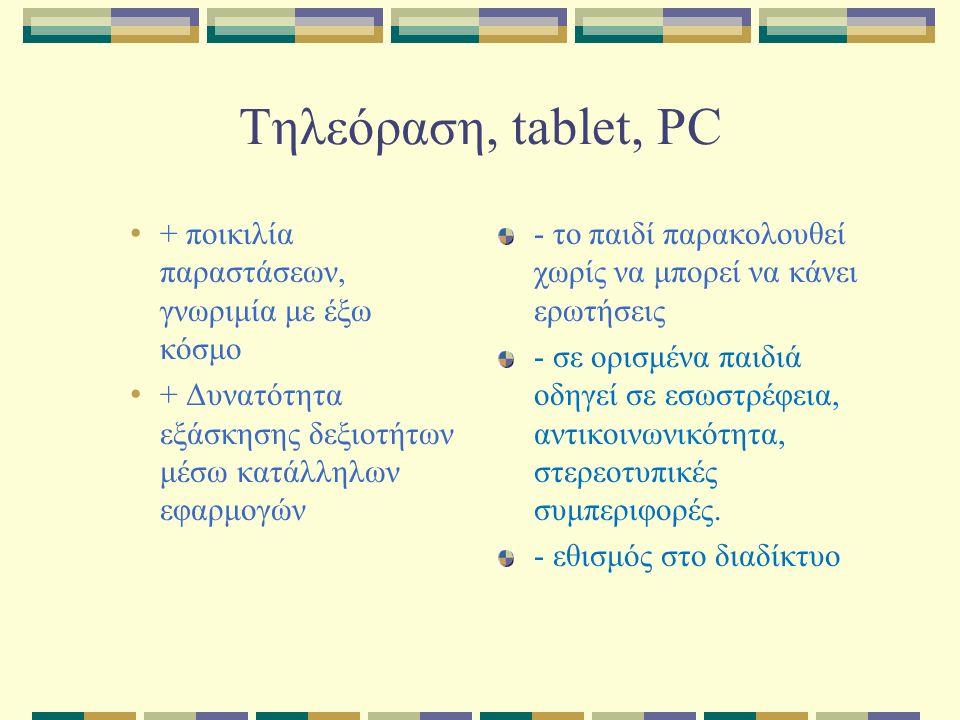 Τηλεόραση, tablet, PC + ποικιλία παραστάσεων, γνωριμία με έξω κόσμο + Δυνατότητα εξάσκησης δεξιοτήτων μέσω κατάλληλων εφαρμογών - το παιδί παρακολουθεί χωρίς να μπορεί να κάνει ερωτήσεις - σε ορισμένα παιδιά οδηγεί σε εσωστρέφεια, αντικοινωνικότητα, στερεοτυπικές συμπεριφορές.