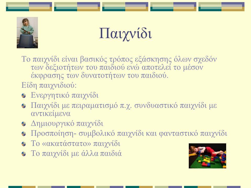 Παιχνίδι Το παιχνίδι είναι βασικός τρόπος εξάσκησης όλων σχεδόν των δεξιοτήτων του παιδιού ενώ αποτελεί το μέσον έκφρασης των δυνατοτήτων του παιδιού.