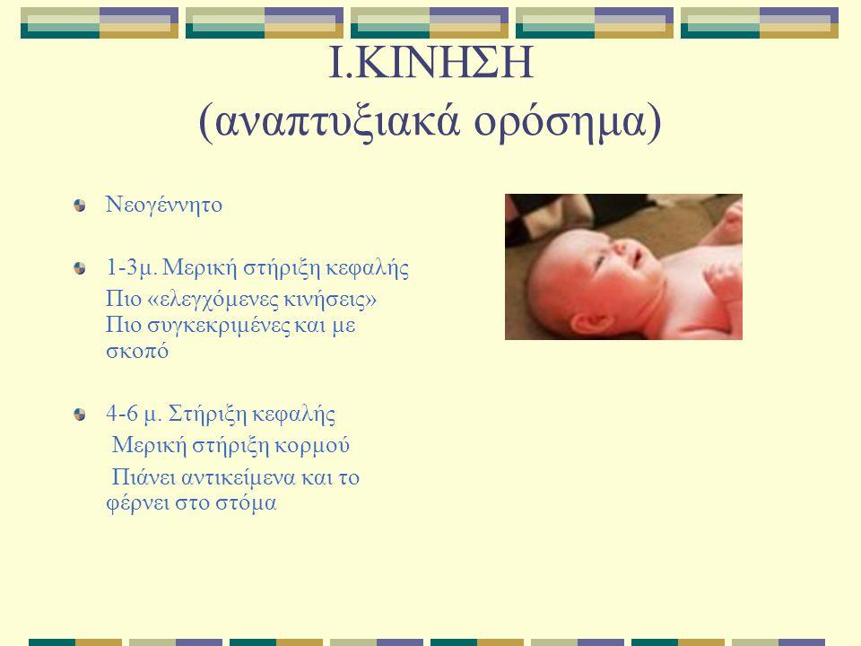 Ι.ΚΙΝΗΣΗ (αναπτυξιακά ορόσημα) Νεογέννητο 1-3μ.