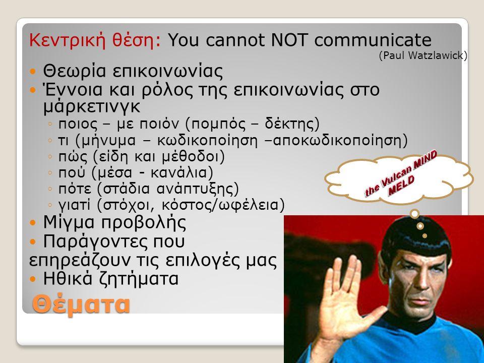 Άσκηση: Τι είναι επικοινωνία; ποιος/ σε ποιόν αριθμός ατόμων σχέση μεταξύ ατόμων τι/αποτέλεσμα πληροφορίες σκέψεις συναισθήματα που/πότε σύμβολα σημεία συμπεριφορά μέσα