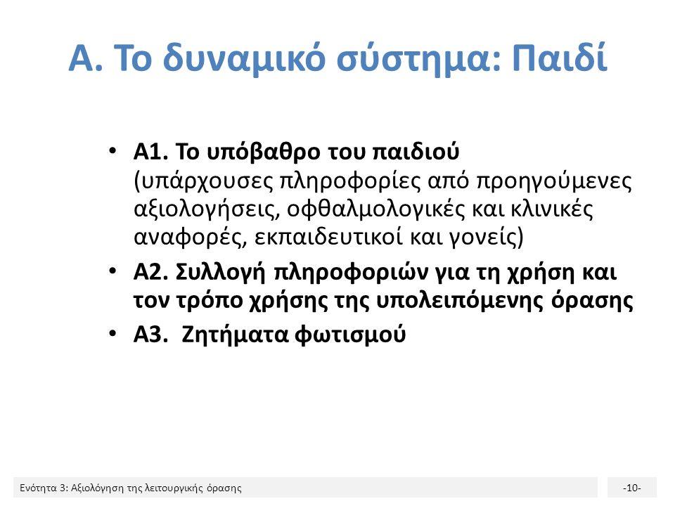 Ενότητα 3: Αξιολόγηση της λειτουργικής όρασης-10- Α.