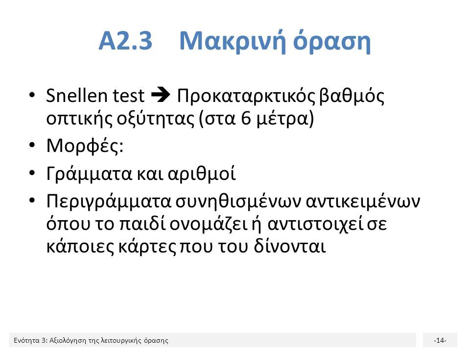 Ενότητα 3: Αξιολόγηση της λειτουργικής όρασης-14- Α2.3 Μακρινή όραση Snellen test  Προκαταρκτικός βαθμός οπτικής οξύτητας (στα 6 μέτρα) Μορφές: Γράμματα και αριθμοί Περιγράμματα συνηθισμένων αντικειμένων όπου το παιδί ονομάζει ή αντιστοιχεί σε κάποιες κάρτες που του δίνονται