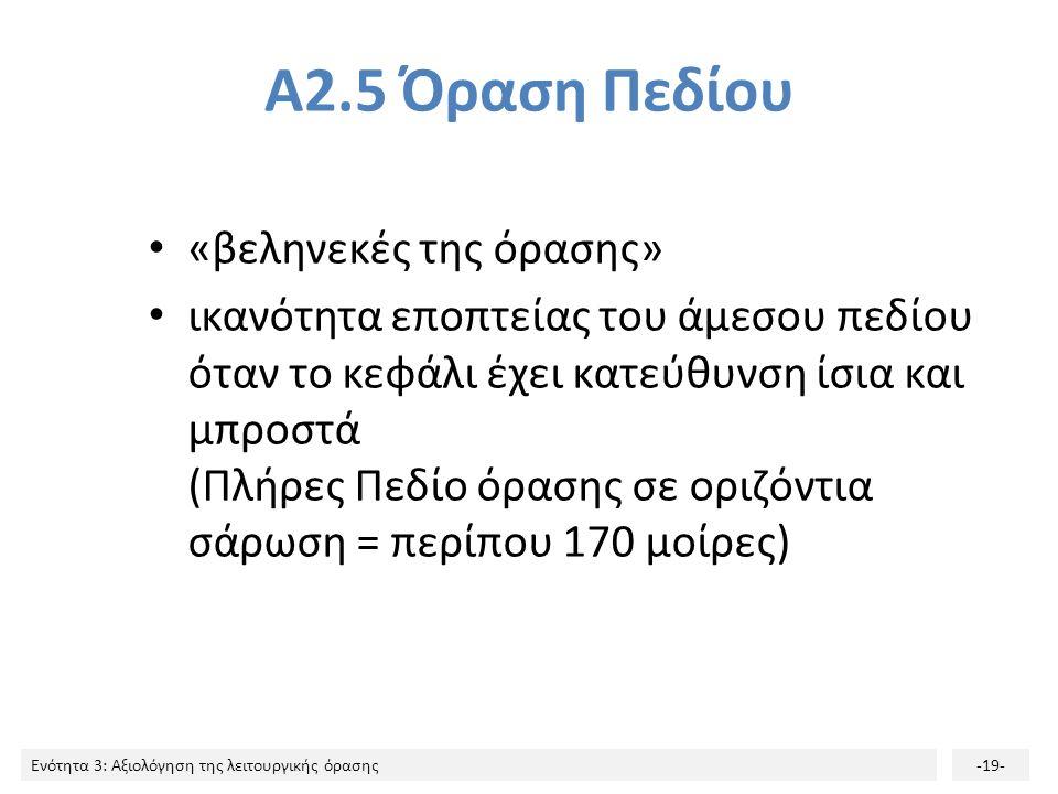 Ενότητα 3: Αξιολόγηση της λειτουργικής όρασης-19- Α2.5 Όραση Πεδίου «βεληνεκές της όρασης» ικανότητα εποπτείας του άμεσου πεδίου όταν το κεφάλι έχει κατεύθυνση ίσια και μπροστά (Πλήρες Πεδίο όρασης σε οριζόντια σάρωση = περίπου 170 μοίρες)