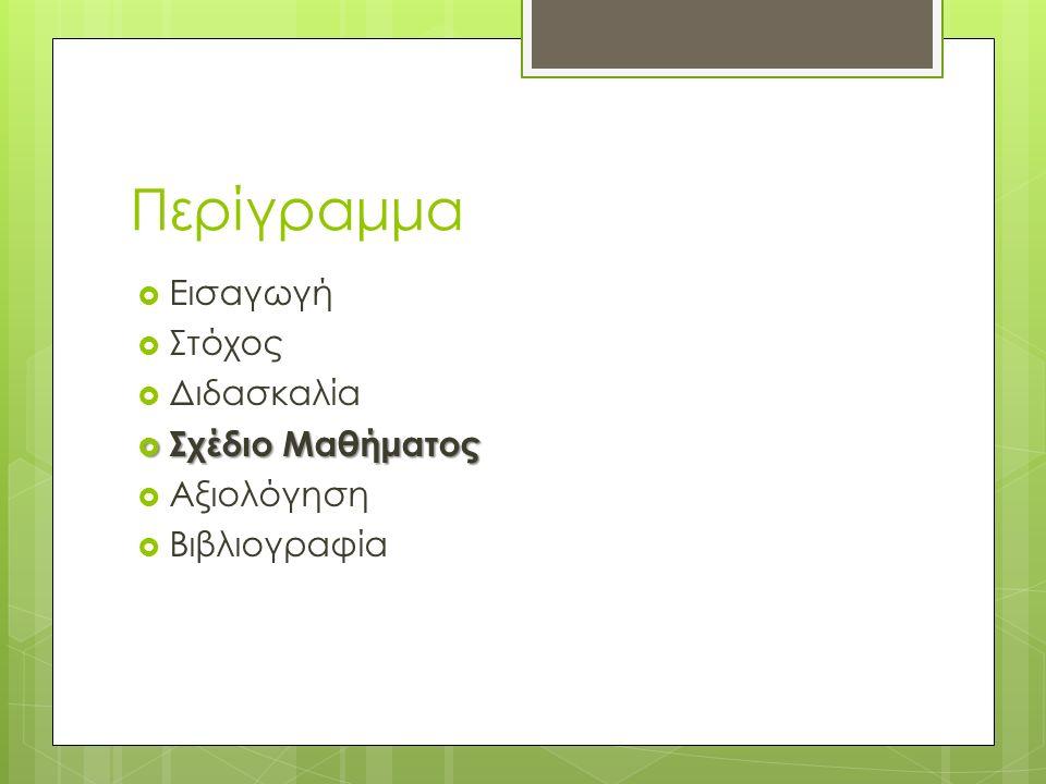 Περίγραμμα  Εισαγωγή  Στόχος  Διδασκαλία  Σχέδιο Μαθήματος  Αξιολόγηση  Βιβλιογραφία