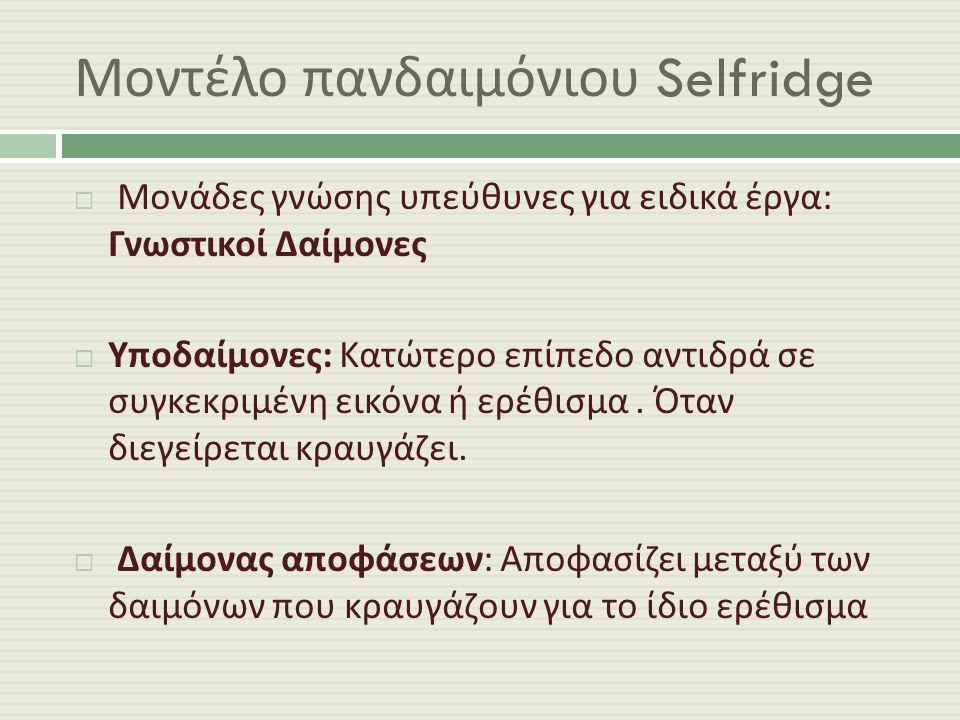Μοντέλο πανδαιμόνιου Selfridge  Μονάδες γνώσης υπεύθυνες για ειδικά έργα : Γνωστικοί Δαίμονες  Υποδαίμονες : Κατώτερο επίπεδο αντιδρά σε συγκεκριμένη εικόνα ή ερέθισμα.