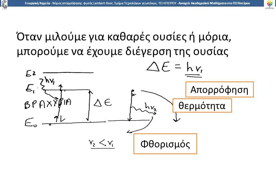 1 Γεωργική Χημεία - Νόμος απορρόφησης φωτός Lambert-Beer, Τμήμα Τεχνολόγων γεωπόνων, ΤΕΙ ΗΠΕΙΡΟΥ - Ανοιχτά Ακαδημαϊκά Μαθήματα στο ΤΕΙ Ηπείρου Όταν μιλούμε για καθαρές ουσίες ή μόρια, μπορούμε να έχουμε διέγερση της ουσίας Απορρόφηση θερμότητα Φθορισμός