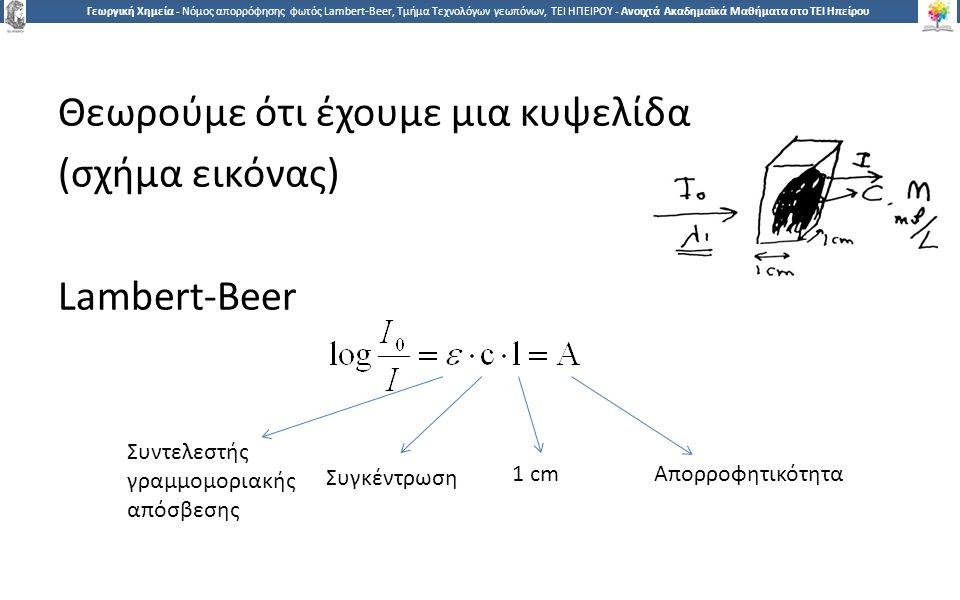1212 Γεωργική Χημεία - Νόμος απορρόφησης φωτός Lambert-Beer, Τμήμα Τεχνολόγων γεωπόνων, ΤΕΙ ΗΠΕΙΡΟΥ - Ανοιχτά Ακαδημαϊκά Μαθήματα στο ΤΕΙ Ηπείρου Θεωρούμε ότι έχουμε μια κυψελίδα (σχήμα εικόνας) Lambert-Beer Συντελεστής γραμμομοριακής απόσβεσης Απορροφητικότητα Συγκέντρωση 1 cm