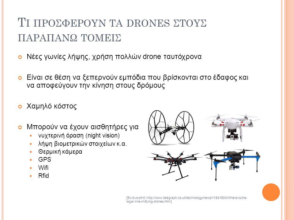 Τ Ι ΠΡΟΣΦΕΡΟΥΝ ΤΑ DRONES ΣΤΟΥΣ ΠΑΡΑΠΑΝΩ ΤΟΜΕΙΣ Νέες γωνίες λήψης, χρήση πολλών drone ταυτόχρονα Είναι σε θέση να ξεπερνούν εμπόδια που βρίσκονται στο έδαφος και να αποφεύγουν την κίνηση στους δρόμους Χαμηλό κόστος Μπορούν να έχουν αισθητήρες για νυχτερινή όραση (night vision) λήψη βιομετρικών στοιχείων κ.α.